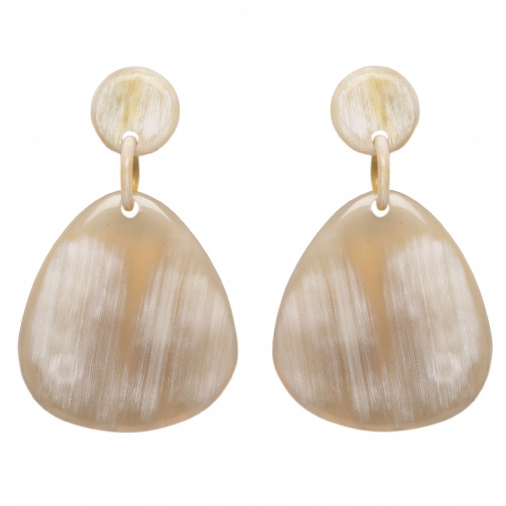 Light Shade Buffalo Horn Placque Earring On Post - Vivo Direct