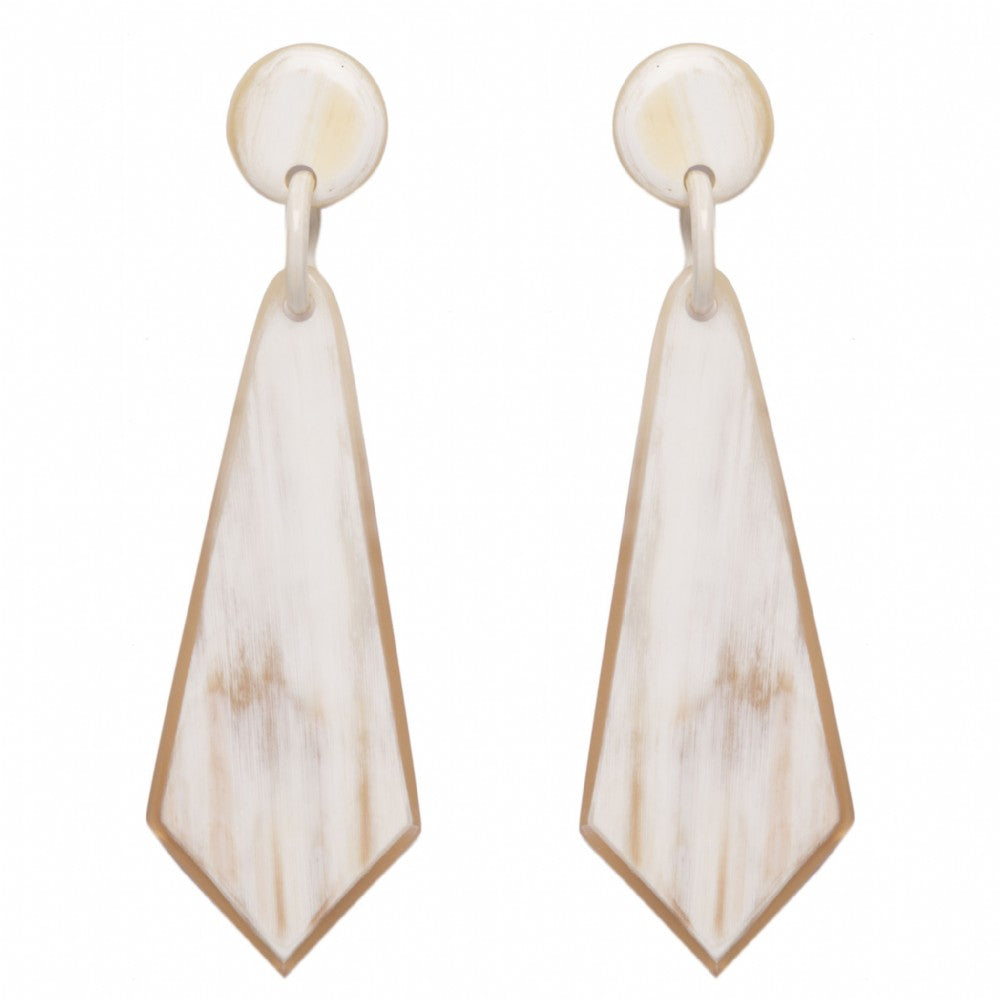 Light Shade Buffalo Horn Earrings On Post - Vivo Direct