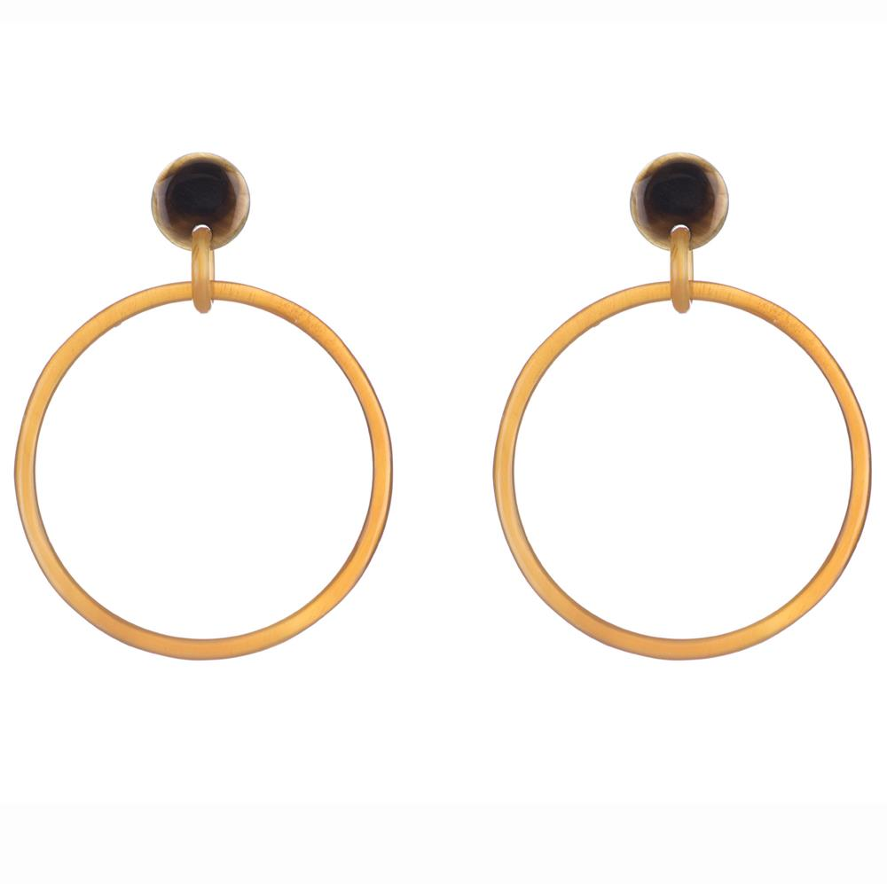 Buffalo Horn Hoop Earring Dropped From Post - Vivo Direct