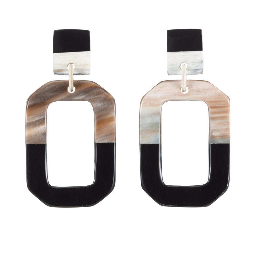 Buffalo Horn Earring - Dark And Light Rectangle - Vivo Direct