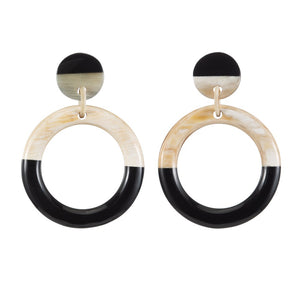 Buffalo Horn Earring - Dark And Light Circle - Vivo Direct