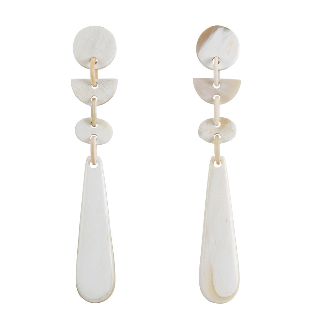 Buffalo Horn Light Shade Long Drop Earring - Vivo Direct