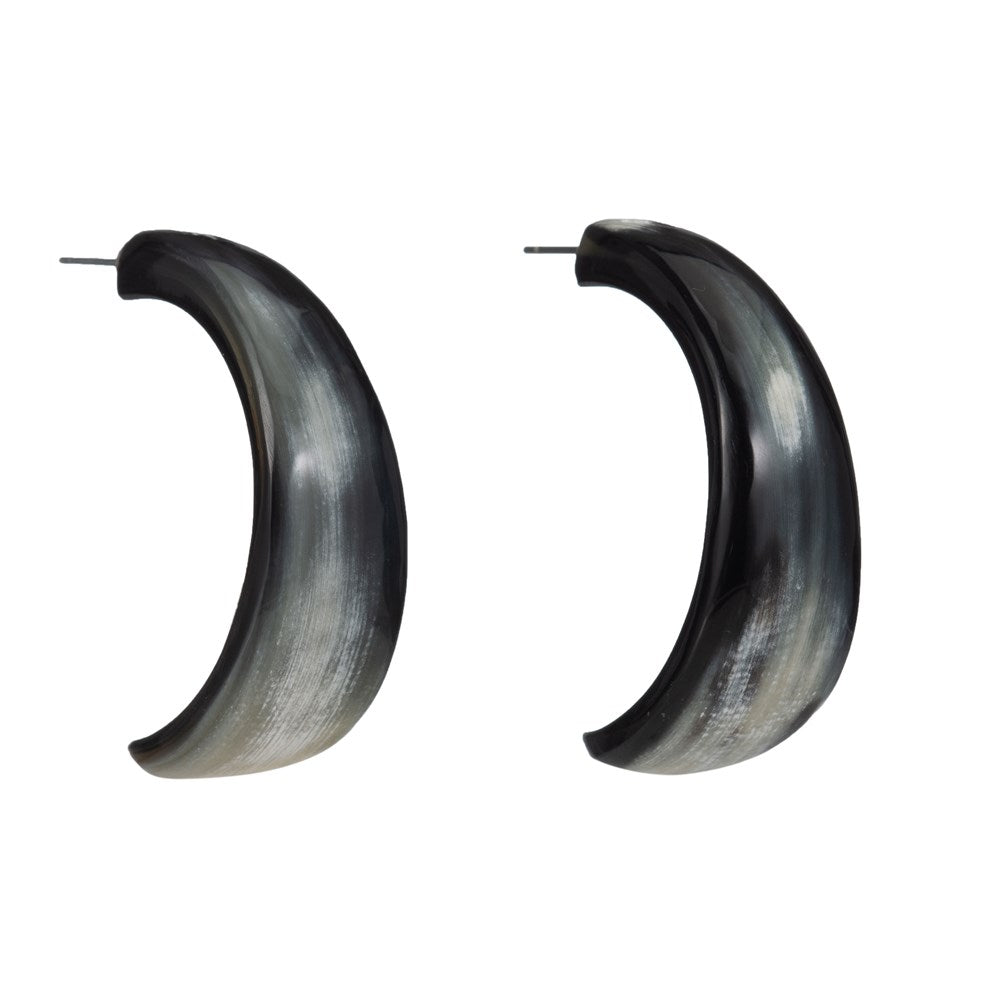 Tapered Crescent Shape Buffalo Horn Hoop Earring - Vivo Studios