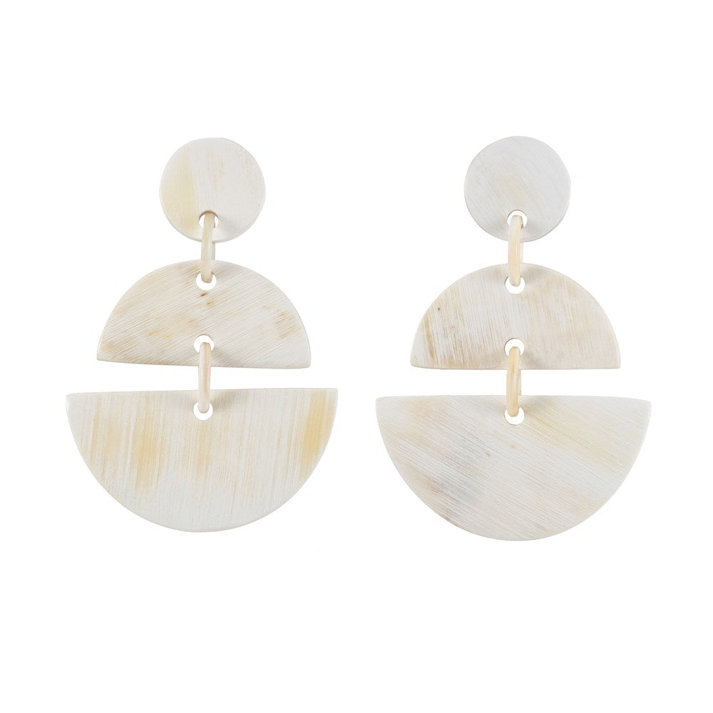 Light Shade Split Circle Buffalo Horn Earrings -Vivo Direct