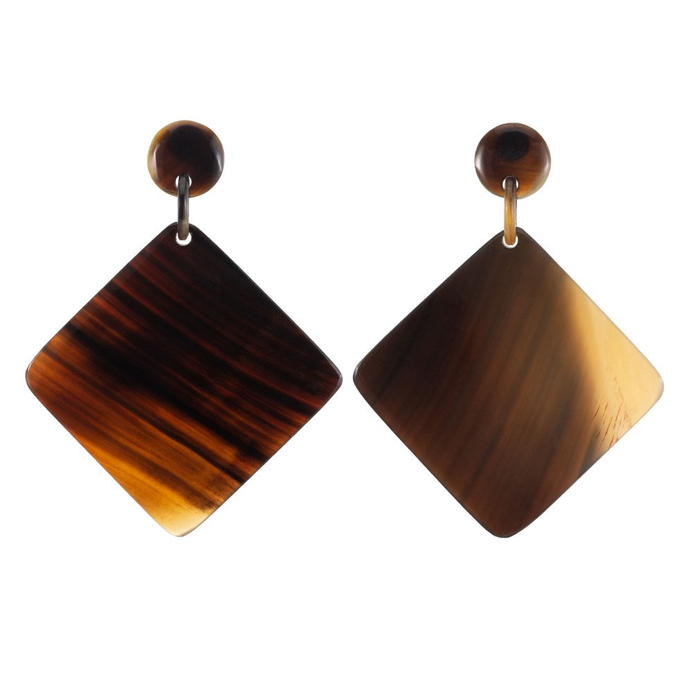 Honey Color Horn Diamond earrings Dropped From Post - Vivo Studios
