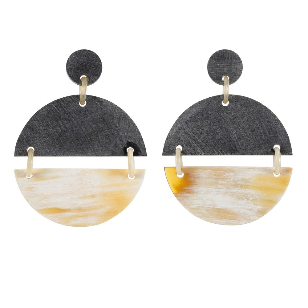 Half Gray Horn Half Light orn Disk Earring On Post -Vivo Direct