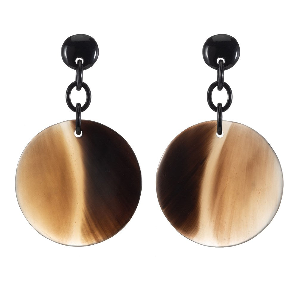 Honey Color Buffalo Horn Disk earring Dropped From Post - Vivo Direct