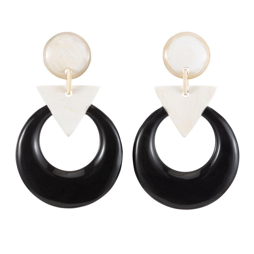 Black Buffalo Horn Earring With Light Shape Connector On Post - Vivo Direct