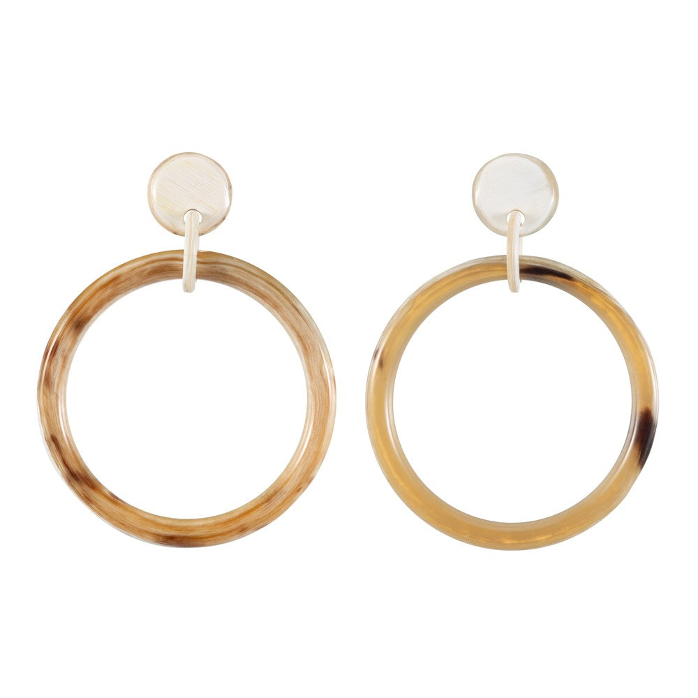 Buffalo Horn Hoop Earring Dropped From Post _ Vivo Direct