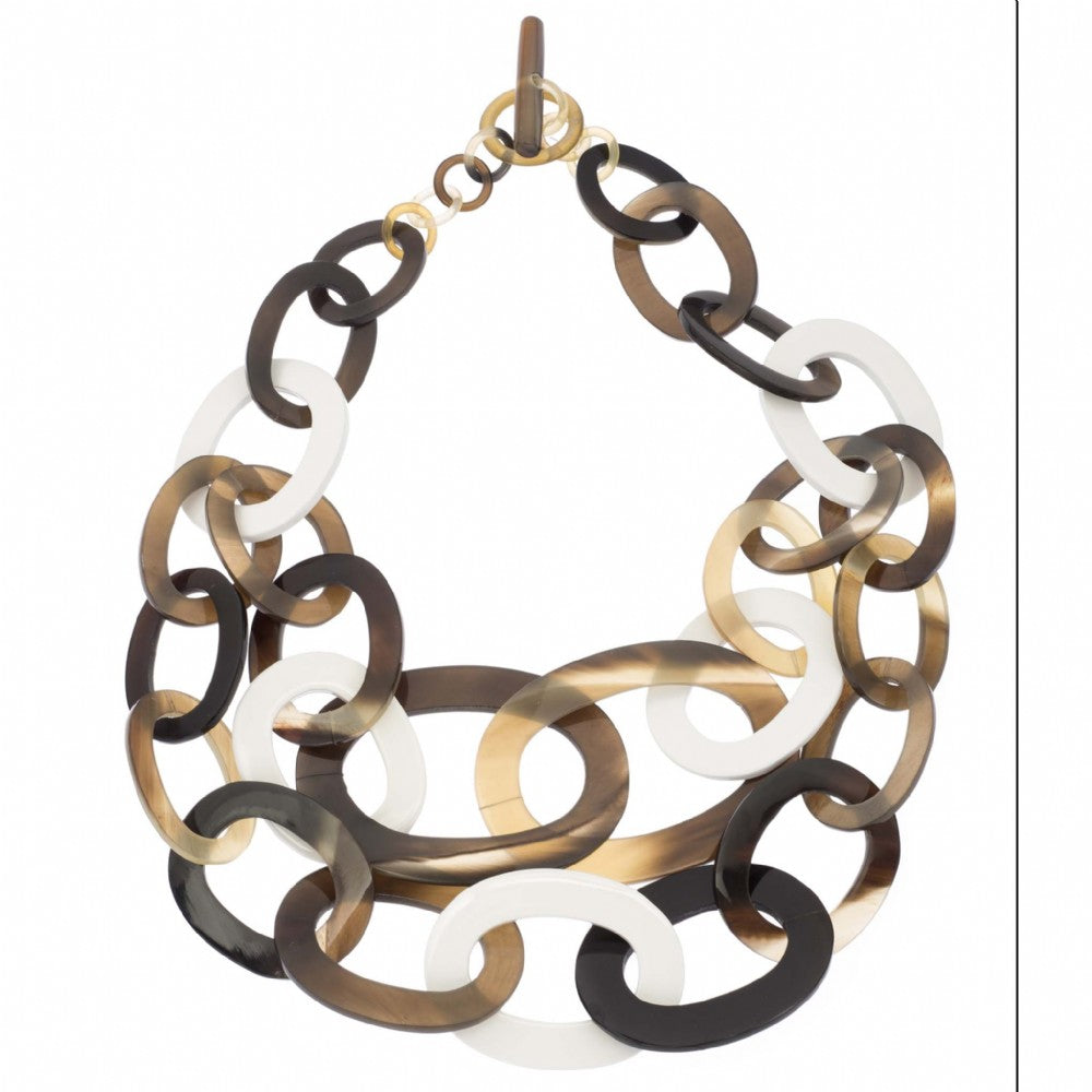 Buffalo Horn Link Necklace With Lacquer