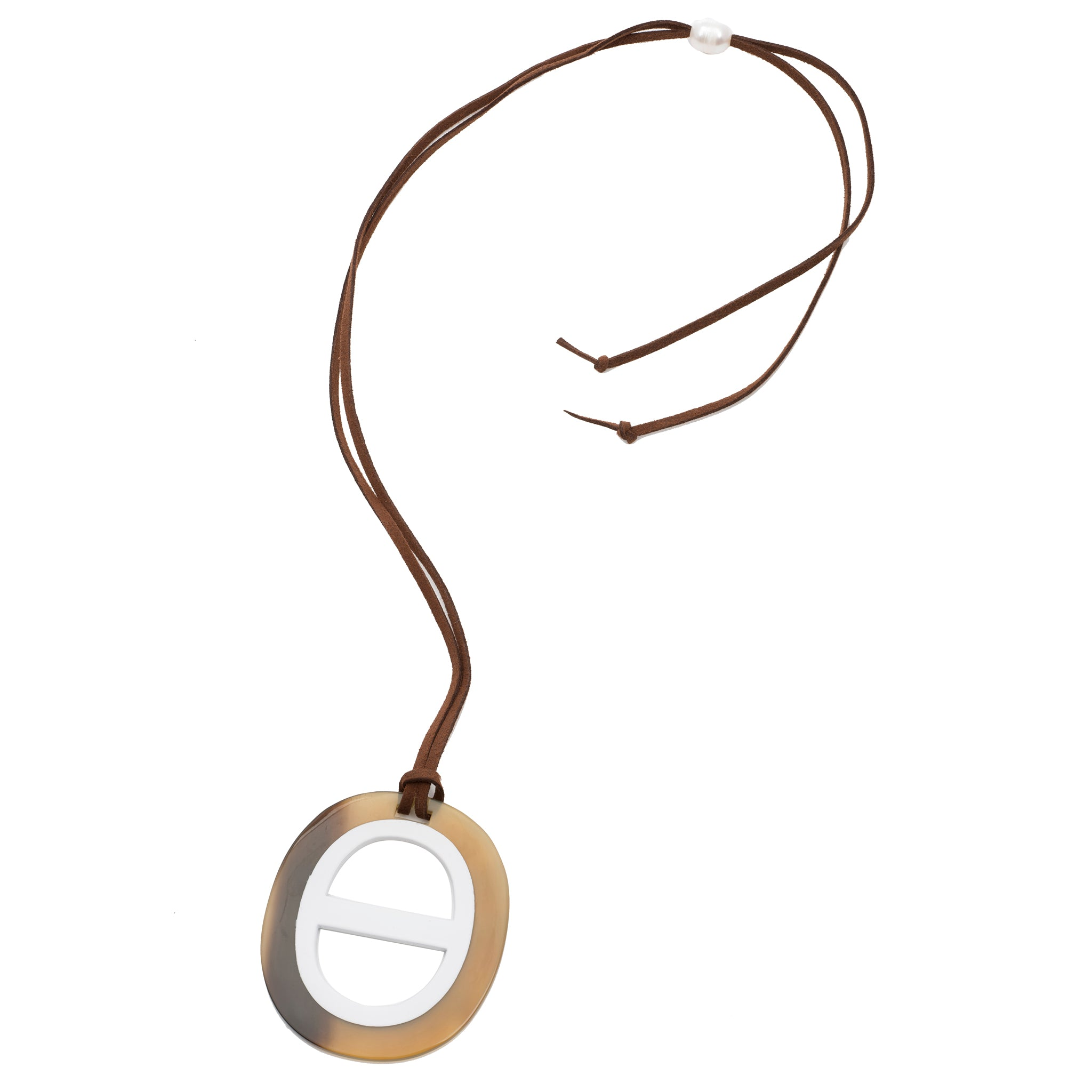 Oval Natural Color Buffalo Horn Pendant Poppy Lacquer Center Detail Cord View - Vivo Direct