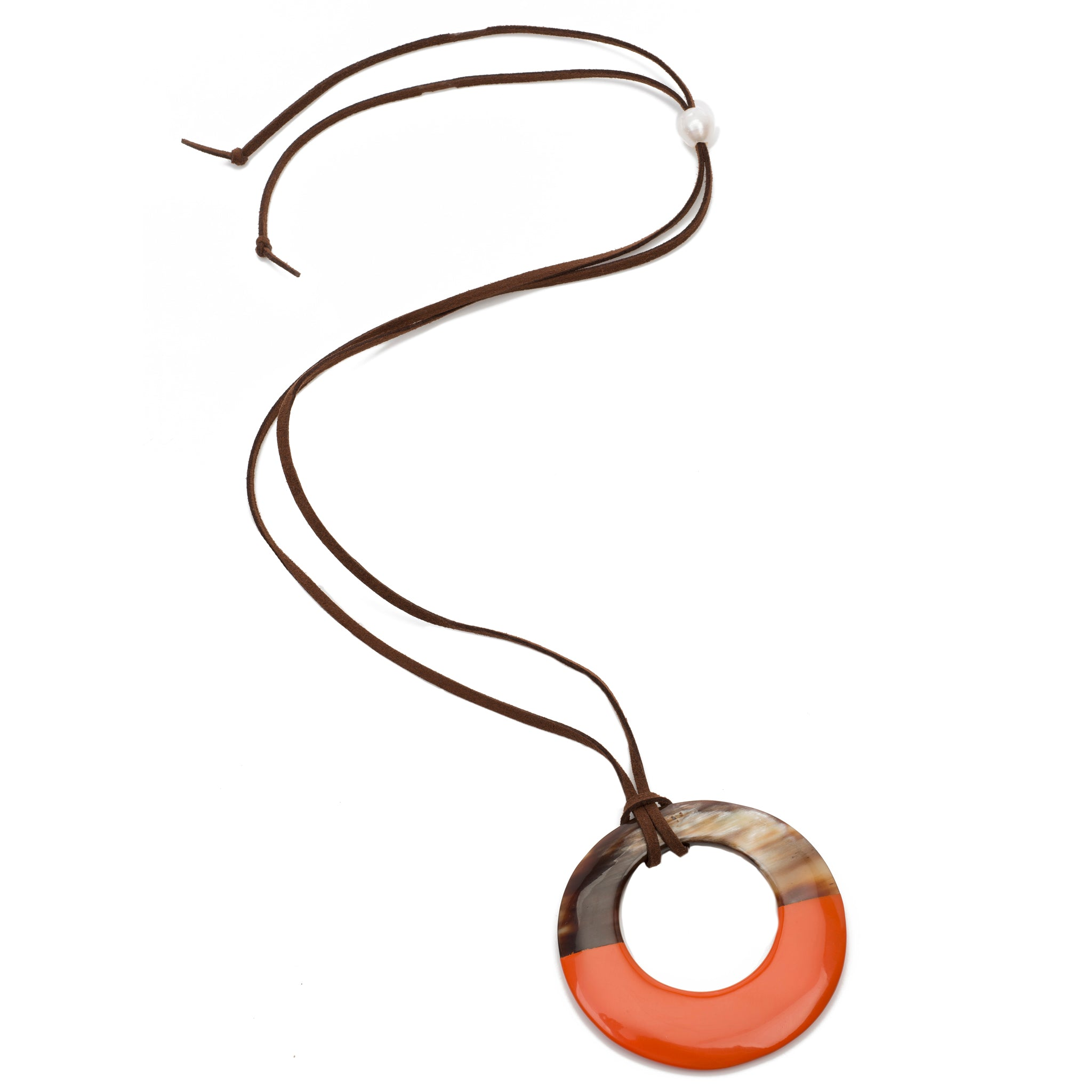 Buffalo Horn Circle Pendant With Half Poppy Lacquer Close View - Vivo Direct