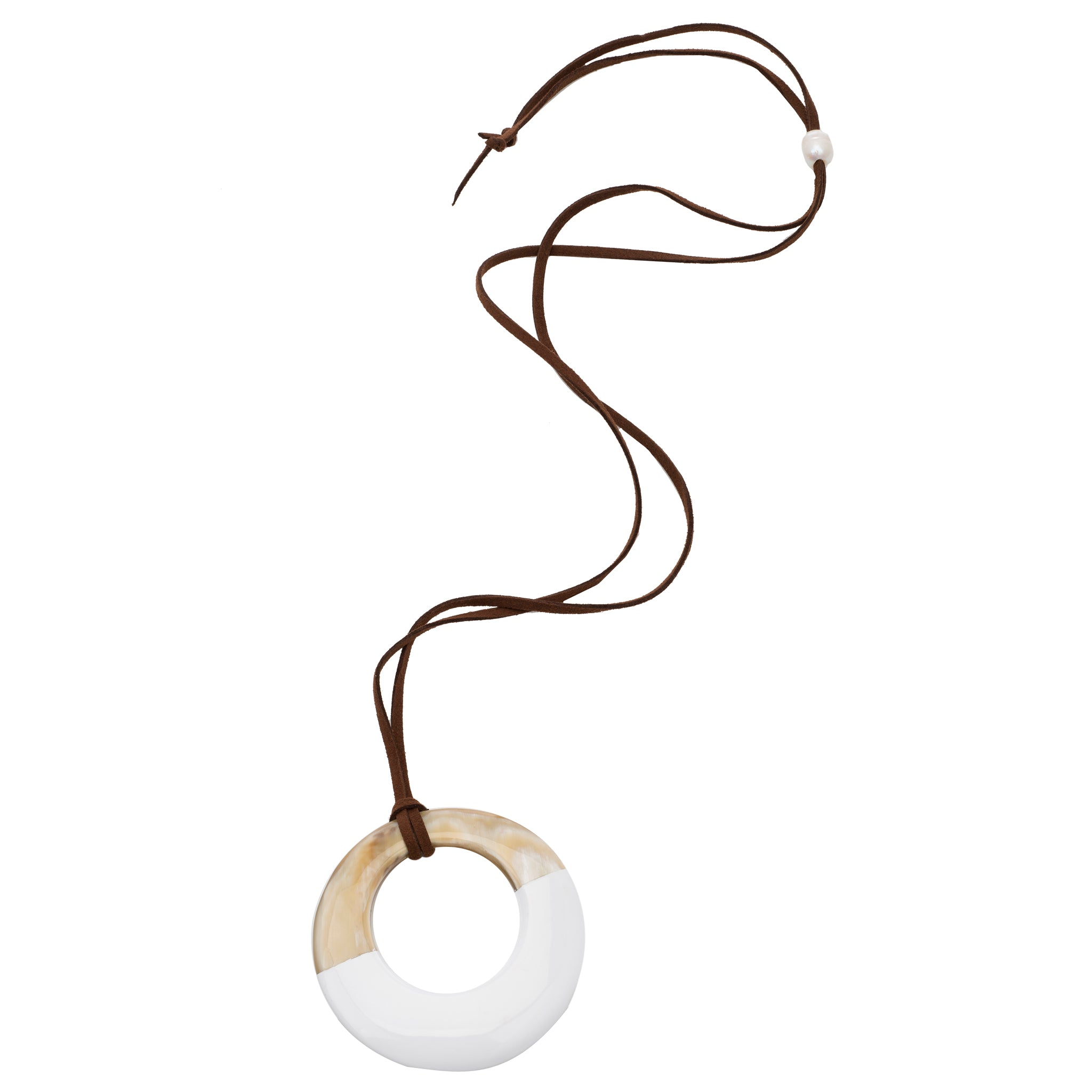 Buffalo Horn Circle Pendant With Half White Lacquer Cord View - Vivo Direct
