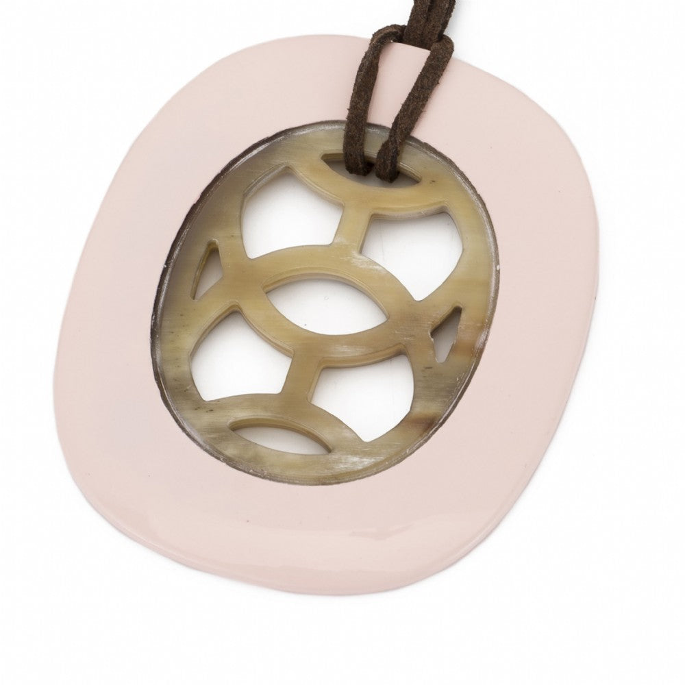 Oval Buffalo Pendant Carved Center Blush Lacquer Frame Close View - Vivo Direct