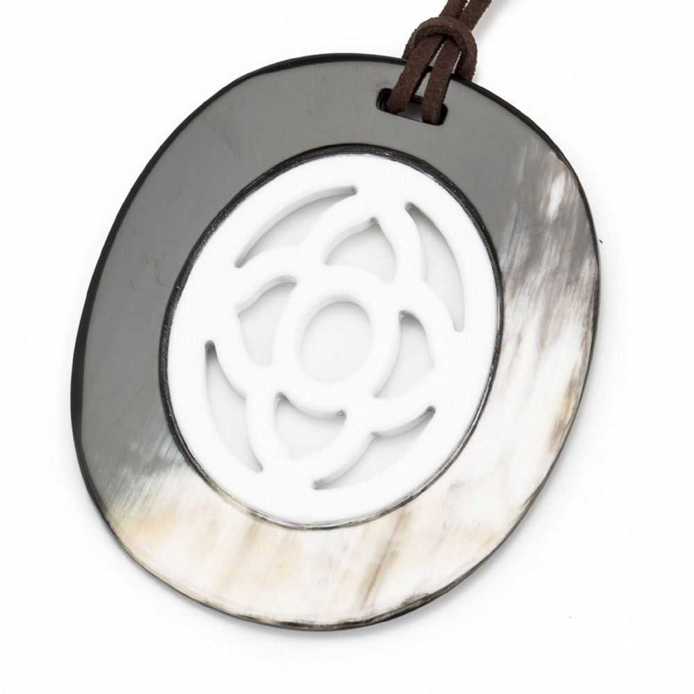 Buffalo Horn Oval Pendant,  Carved Center,  White Lacquer
