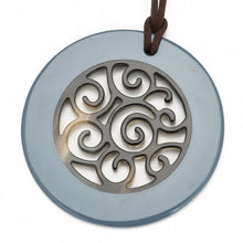 Load image into Gallery viewer, Buffalo Horn Circle Pendant,  Carved Center,  Blue Gray Lacquer