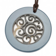 Buffalo Horn Circle Pendant,  Carved Center,  Blue Gray Lacquer