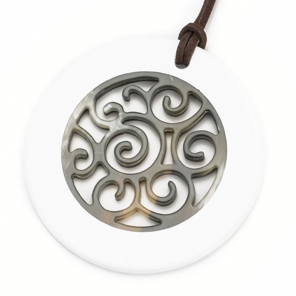 Buffalo Horn Circle Pendant,  Carved Center,  White Lacquer