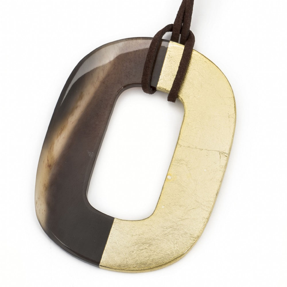Oval Buffalo Horn Pendant Half Gold Leaf Lacquer Close View - Vivo Direct