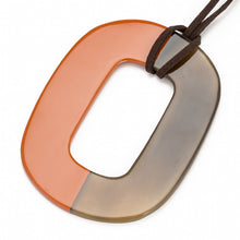 Load image into Gallery viewer, Buffalo Horn Flat Oval Pendant, Half Poppy Lacquer