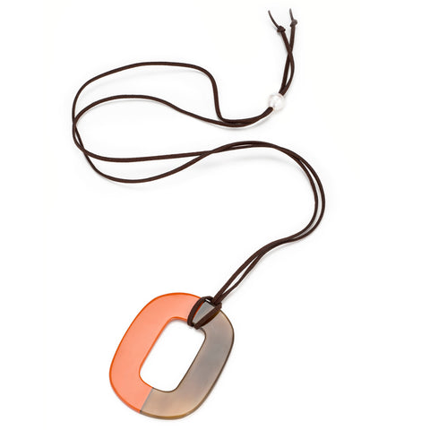 Buffalo Horn Flat Oval Pendant, Half Poppy Lacquer