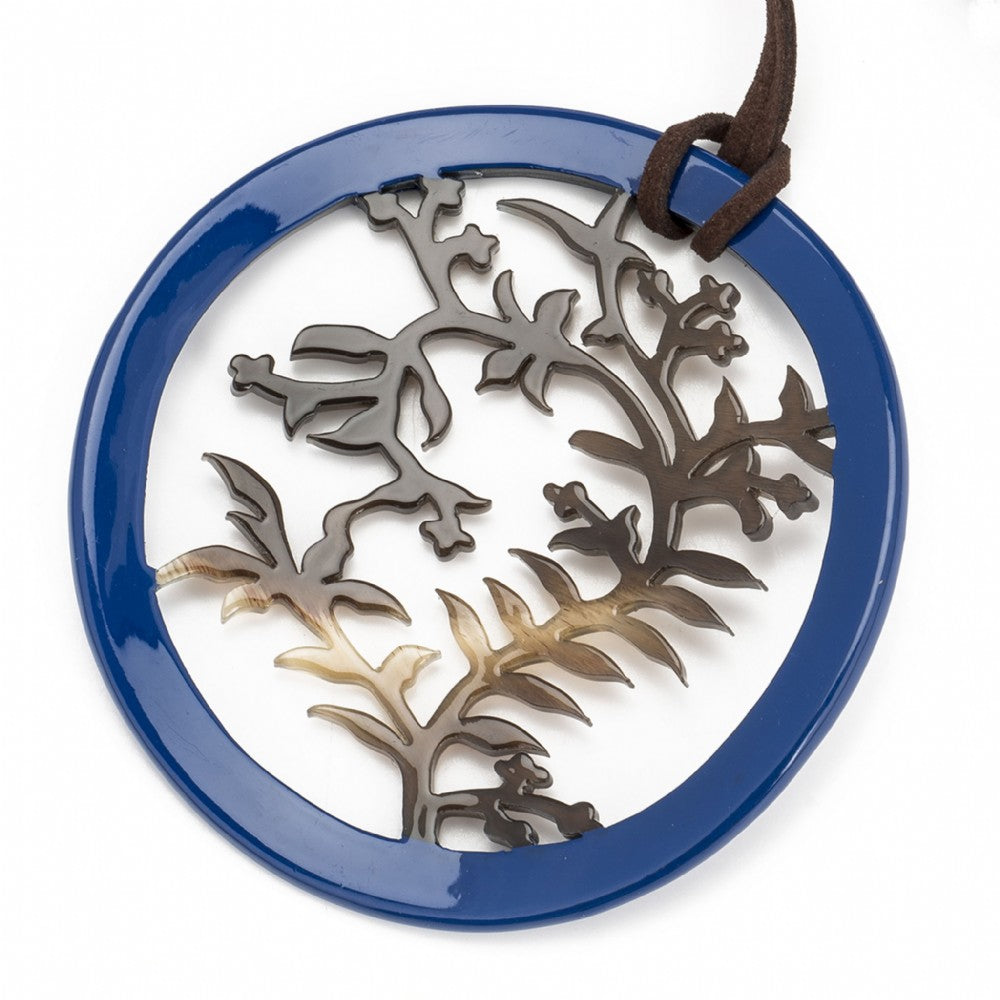 Buffalo Horn Carved Botanical Circle Pendant Navy Lacquer Frame on Cord Close View - Vivo Direct