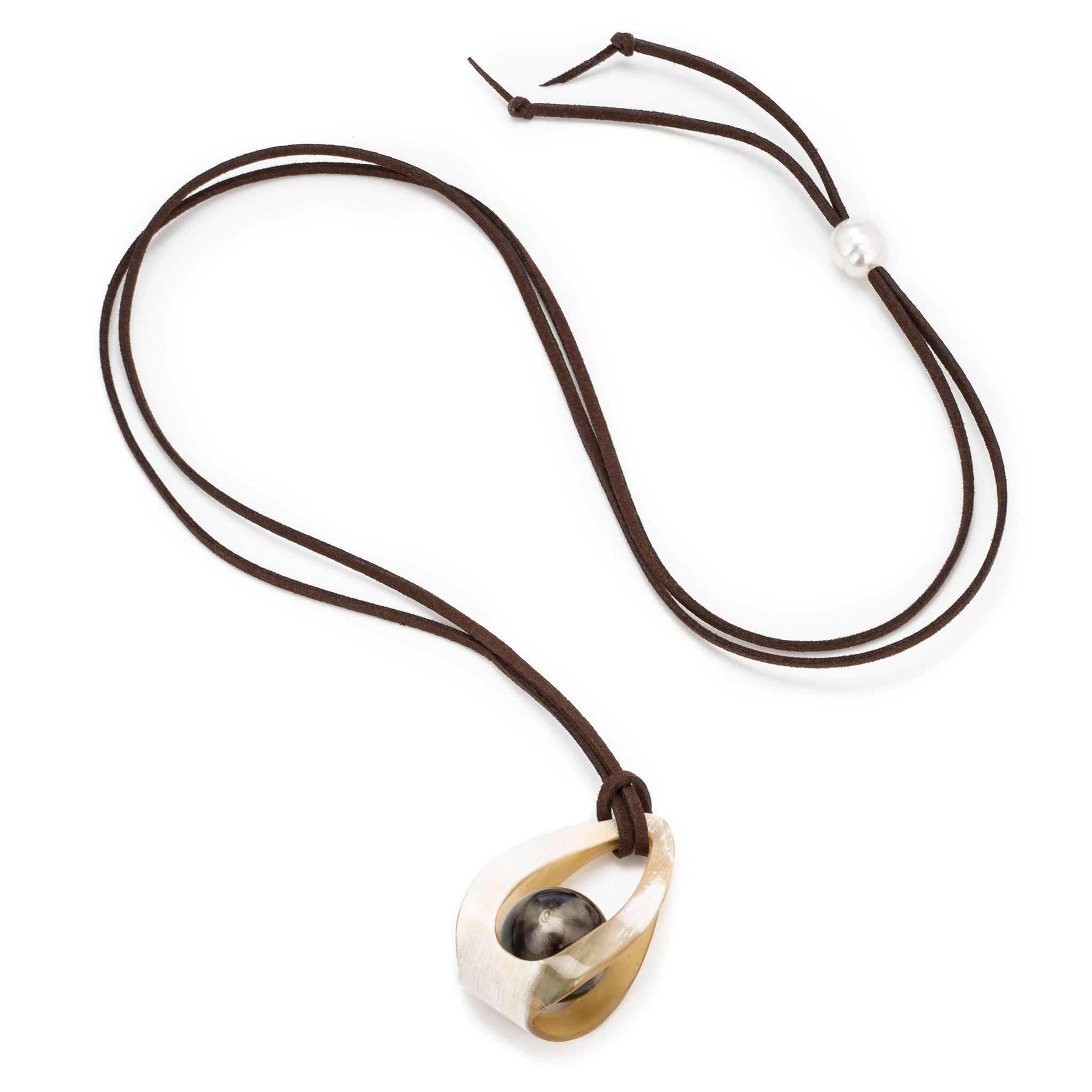 Buffalo Horn Ball in Cage  Pendant on Cord Cord View - Vivo Direct