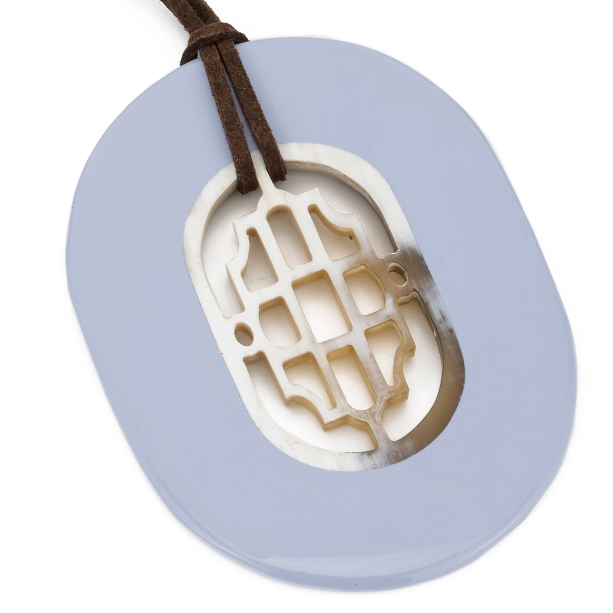 Oval Buffalo Pendant Carved Center Periwinkle Lacquer Frame Close View - Vivo Direct