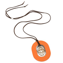 Load image into Gallery viewer, Buffalo Horn Oval Pendant, Geometric Center & Poppy Lacquer