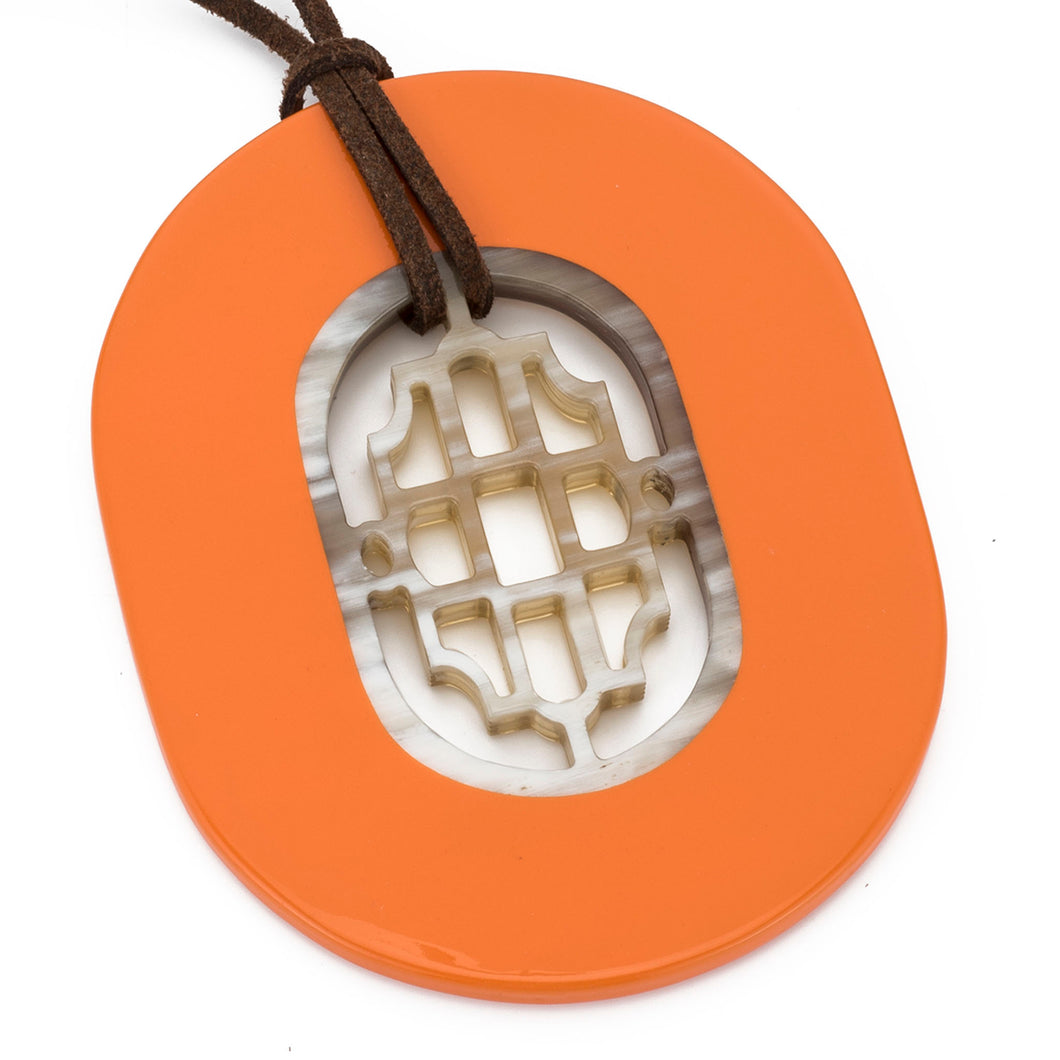 Buffalo Horn Oval Pendant, Geometric Center & Poppy Lacquer
