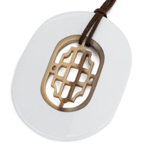Load image into Gallery viewer, Buffalo Horn Oval Pendant, Geometric Center & White Lacquer