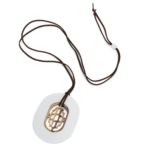 Buffalo Horn Oval Pendant, Geometric Center & White Lacquer