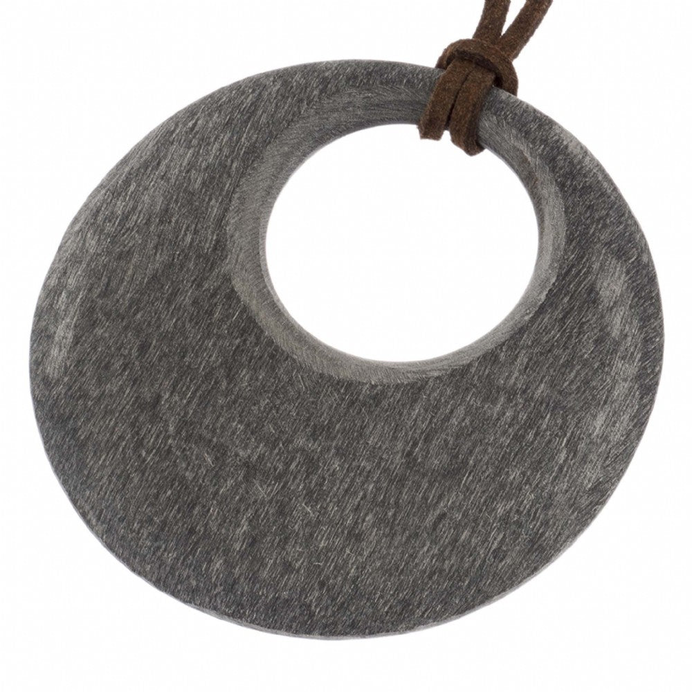 Matt Black Horn Circle Pendant Close View - Vivo Direct