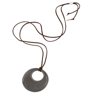 Matt Black Horn Circle Pendant Cord  View - Vivo Direct
