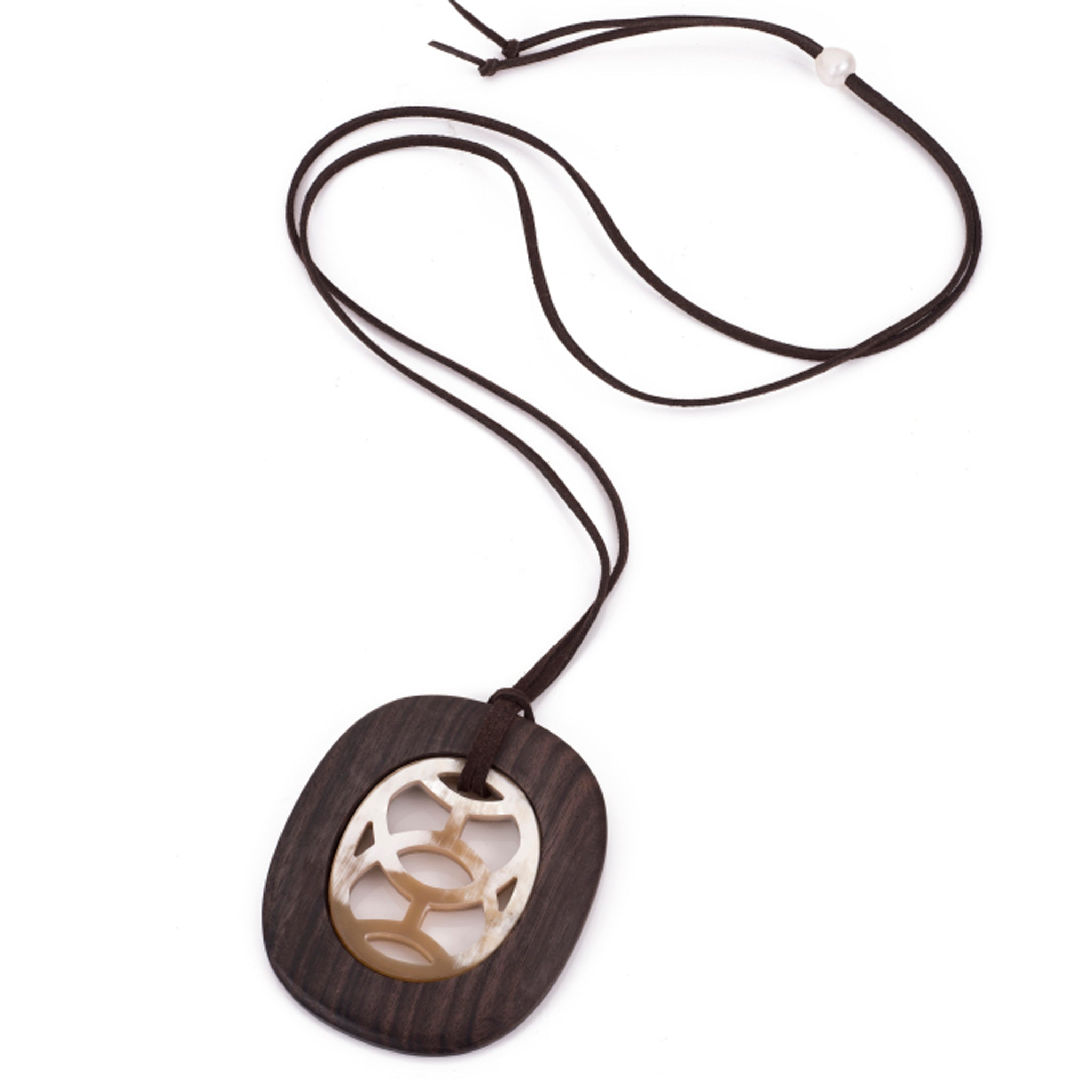 Pendant On Cord Buffalo Horn Carved Center Ebony Frame Cord  View - Vivo Direct