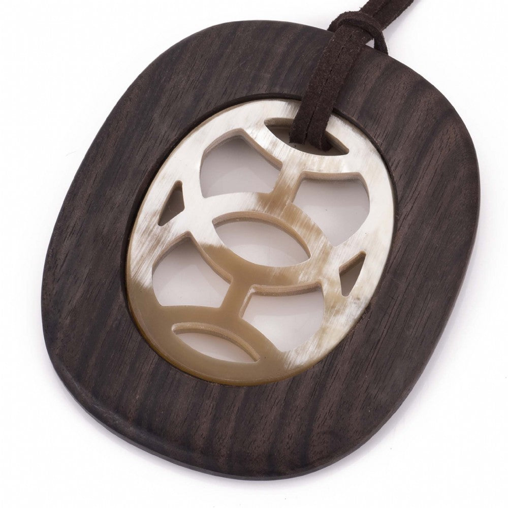 Pendant On Cord Buffalo Horn Carved Center Ebony Frame Close View - Vivo Direct
