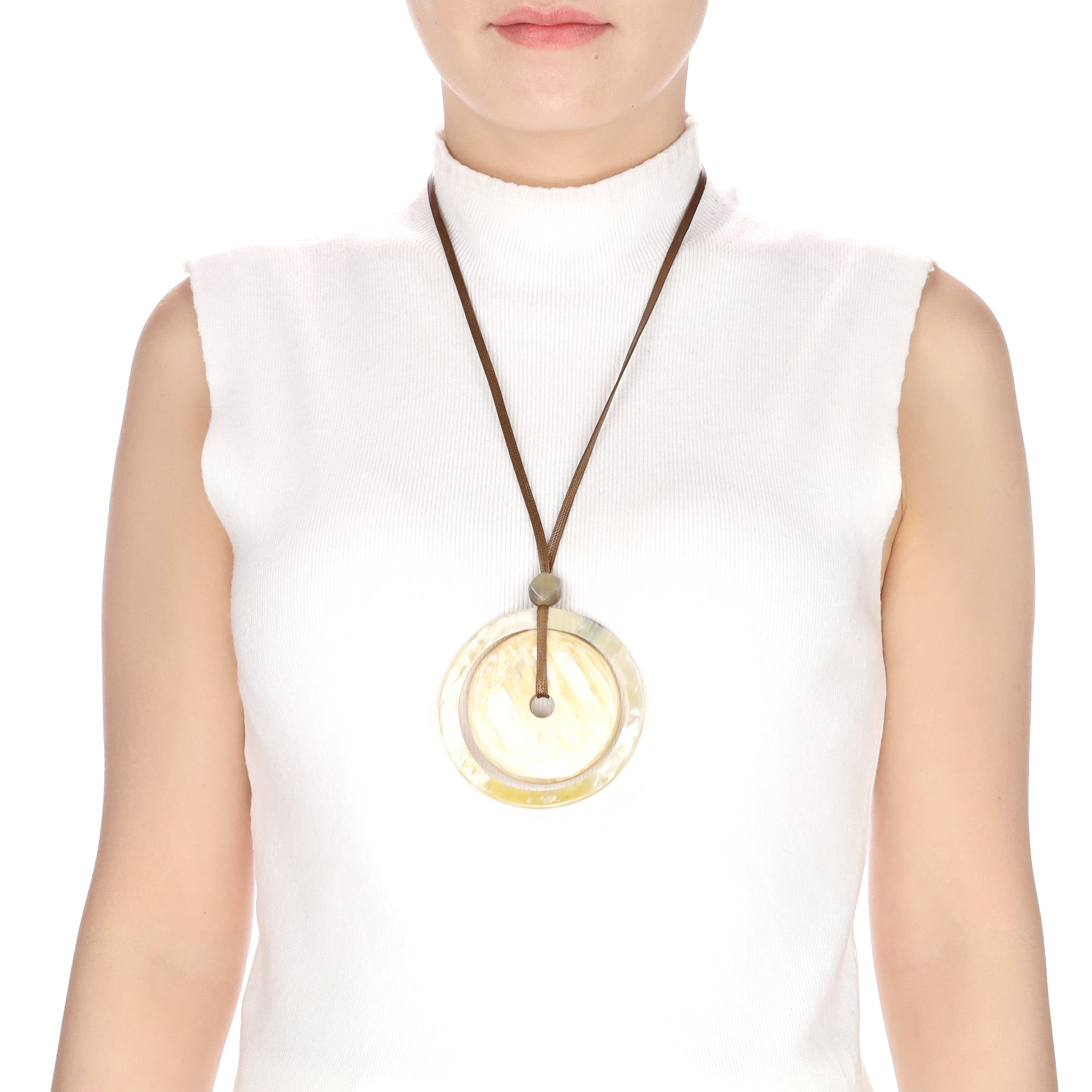 Buffalo Horn Concentric Circle Pendant on Cord On Body View - Vivo Direct