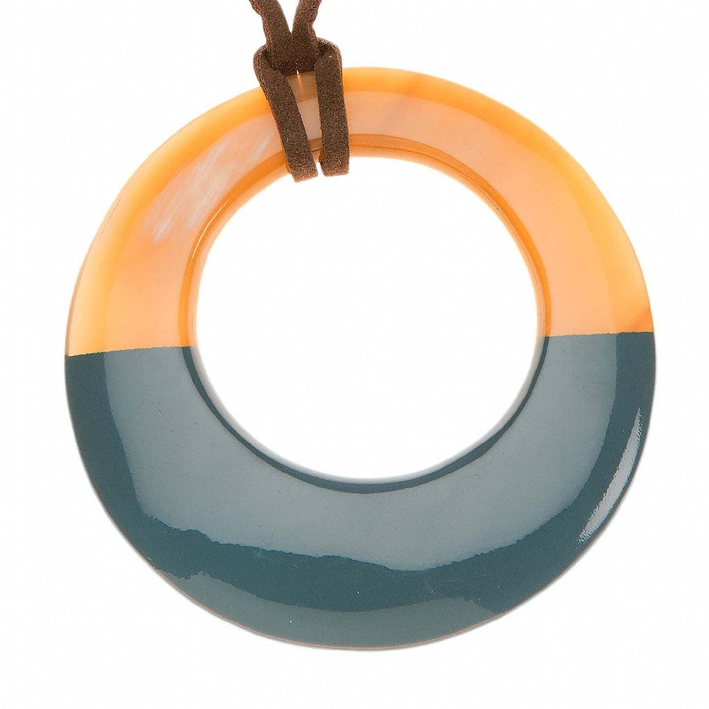 Buffalo Horn Circle Pendant With Half Blue Lacquer Close View - Vivo Direct