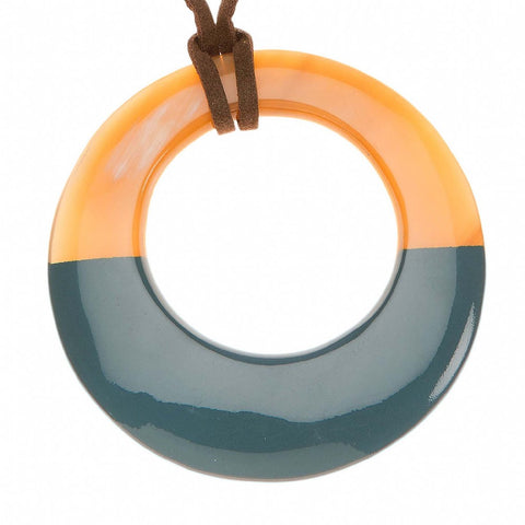 Buffalo Horn Pendant with Lacquer-Blue/Gray