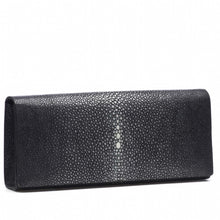 Load image into Gallery viewer, Black Shagreen Clutch Bag Front View Cleo - Vivo Direct