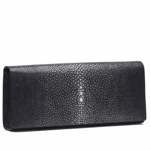 Black Shagreen Clutch Bag Front View Cleo - Vivo Direct