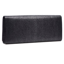 Load image into Gallery viewer, Black Shagreen Clutch Bag Back View Cleo - Vivo Direct