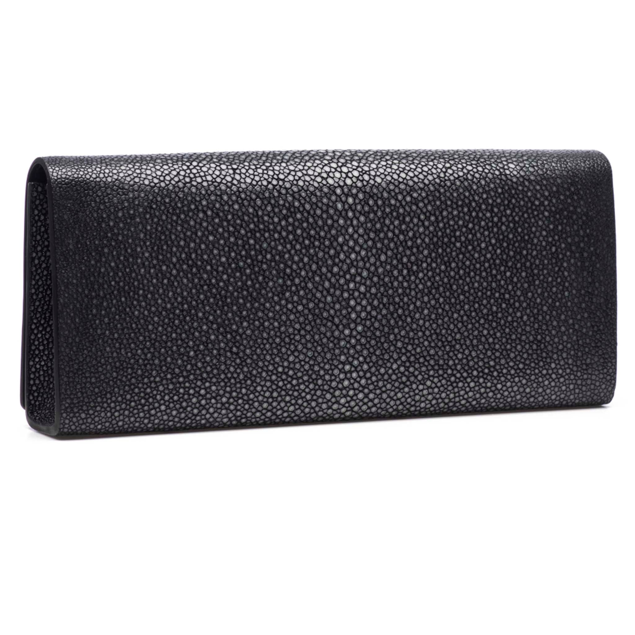 Black Shagreen Clutch Bag Back View Cleo - Vivo Direct
