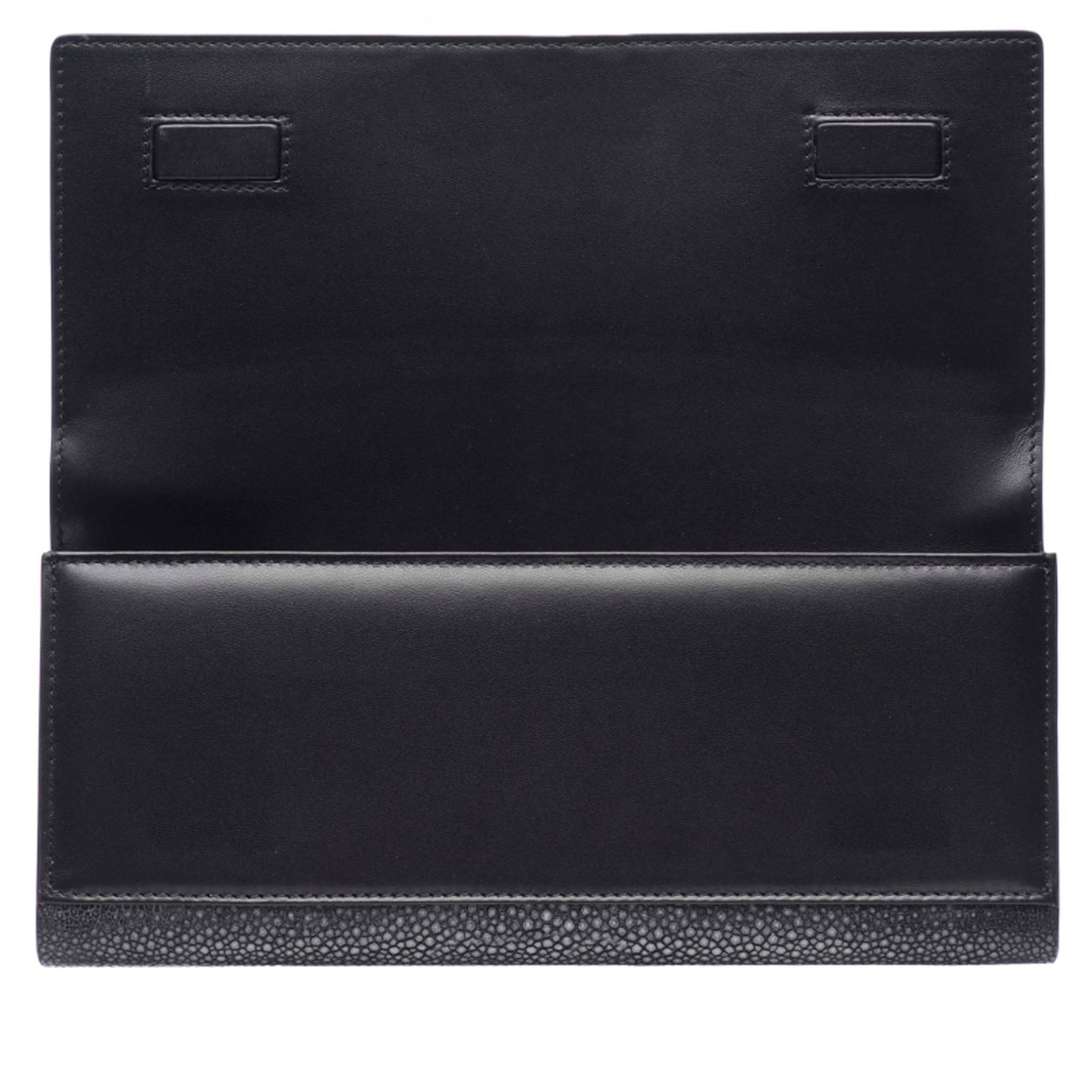 Black Shagreen Clutch Bag Front Inside Cleo - Vivo Direct