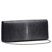 Load image into Gallery viewer, Black Shagreen Clutch Bag Front View With Chain Cleo - Vivo Direct
