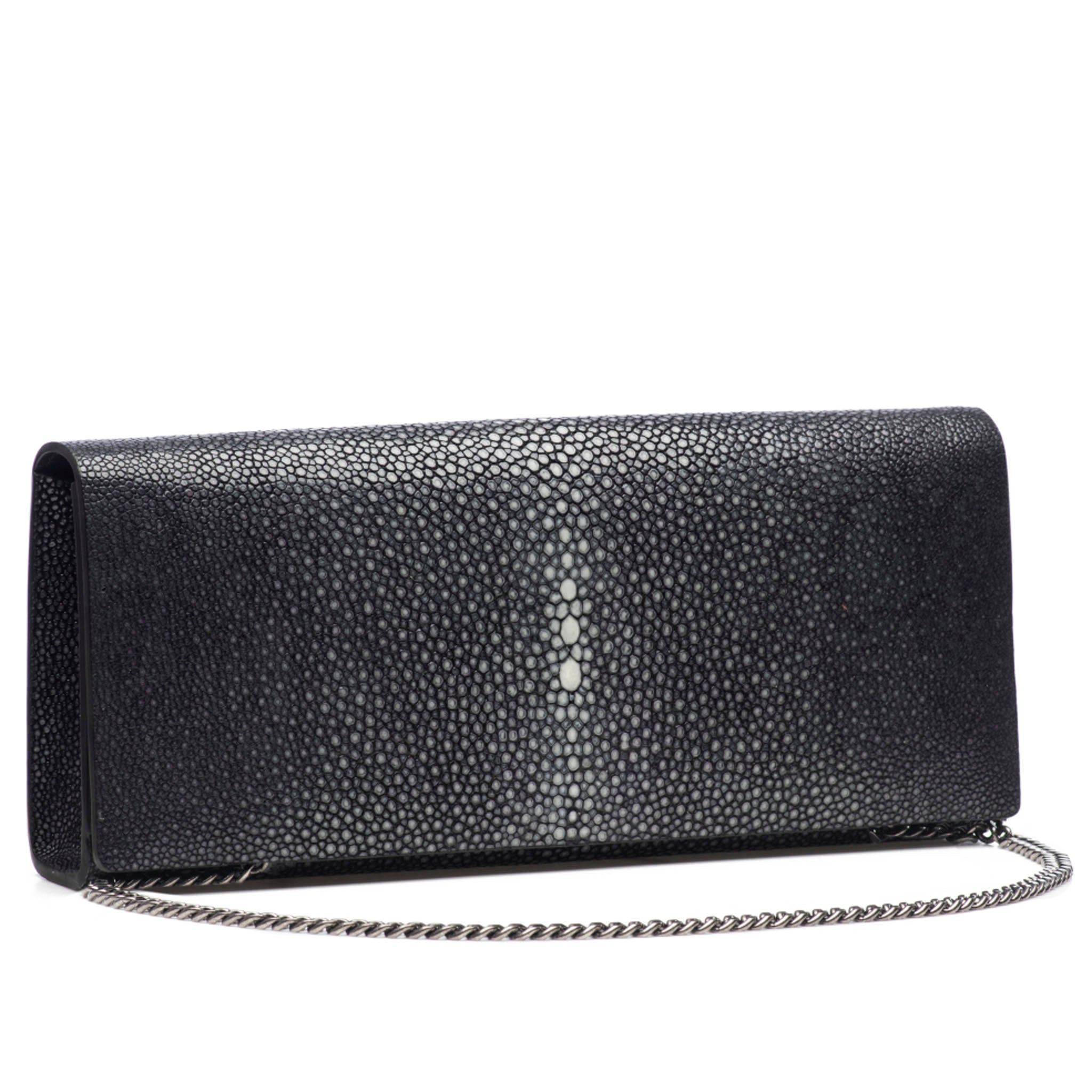Black Shagreen Clutch Bag Front View With Chain Cleo - Vivo Direct