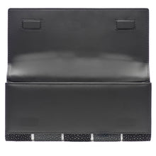 Load image into Gallery viewer, Cleo- Genuine shagreen clutch bag-Black stripe
