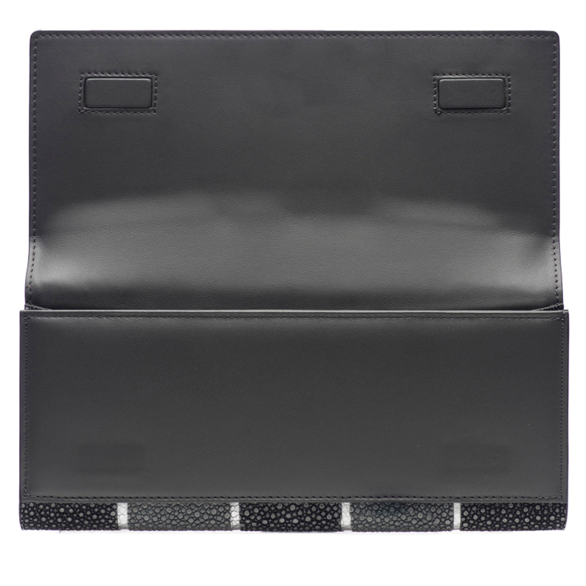 Black And Gray Stripe Shagreen Clutch Bag Inside View Cleo - Vivo Direct