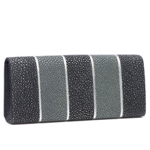 Load image into Gallery viewer, Black And Gray Stripe Shagreen Clutch Bag Back View Cleo - Vivo Direct