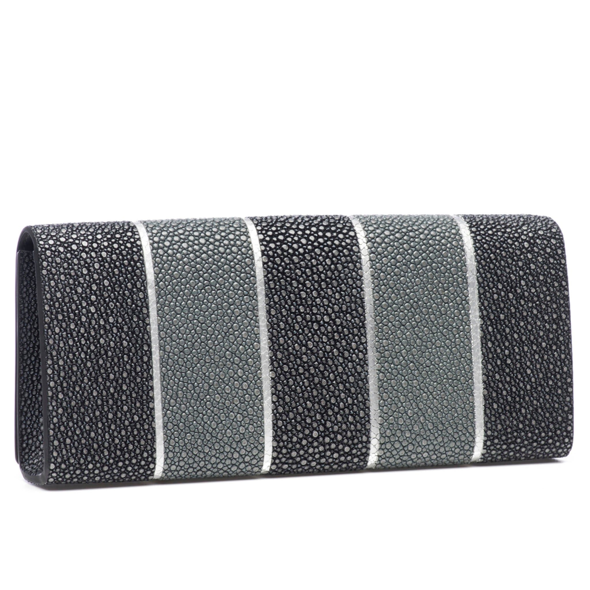 Black And Gray Stripe Shagreen Clutch Bag Back View Cleo - Vivo Direct